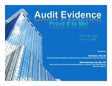 CAST: Audit Evidence - IIA Dallas Chapter