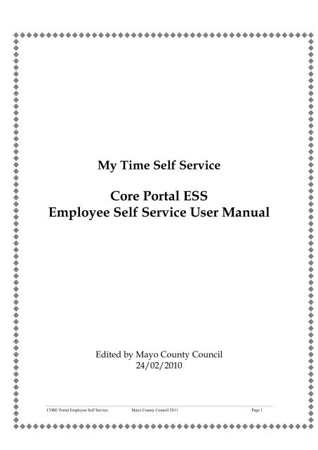 Core Portal ESS Employee Self Service User Manual - Mayo County
