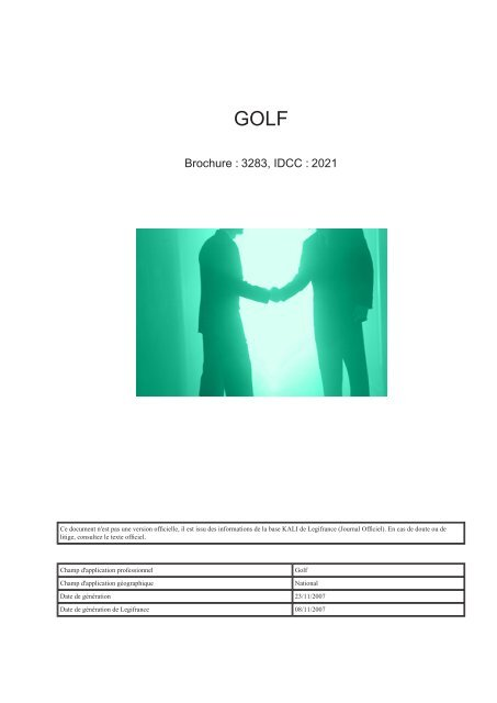 Convention Collective du Golf