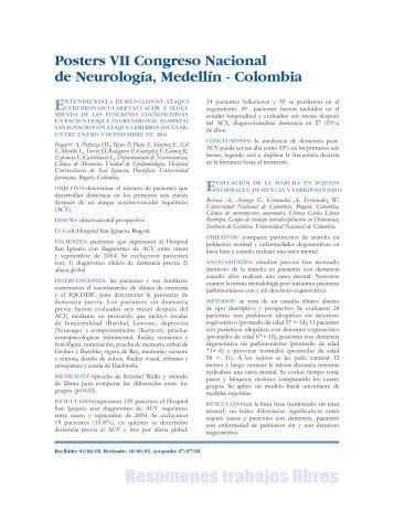 Resúmenes trabajos libres - Asociación Colombiana de Neurología