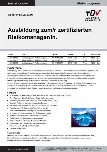 Ausbildung zum/r zertifizierten Risikomanager/in. - TÜV Austria ...