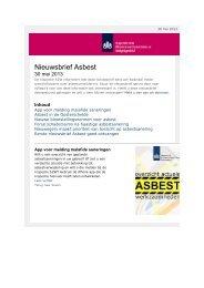 Nieuwsbrief Asbest nr. 2 2013 - Inspectie SZW