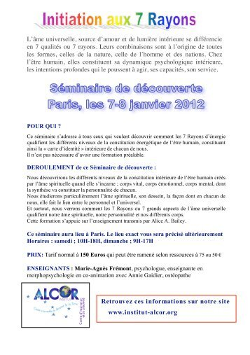 Flyer3 rayons PARIS A5 - Institut Alcor