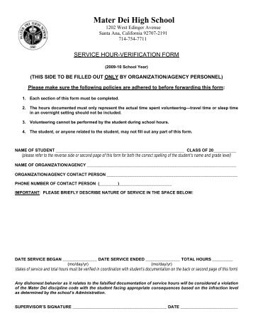 2014 Service Hour Verification Form - St. Scholastica Academy