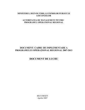 document de lucru - Agentia pentru Dezvoltare Regionala Nord-Est