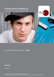 MultiMediaTechnology mmt Fachhochschule Salzburg