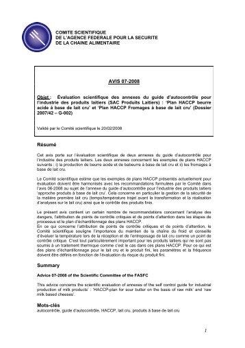 Avis 07-2008 du Comité scientifique de l'AFSCA