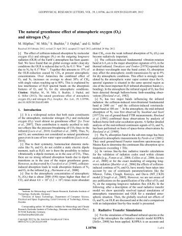 The natural greenhouse effect of atmospheric oxygen (O2 ... - SAT