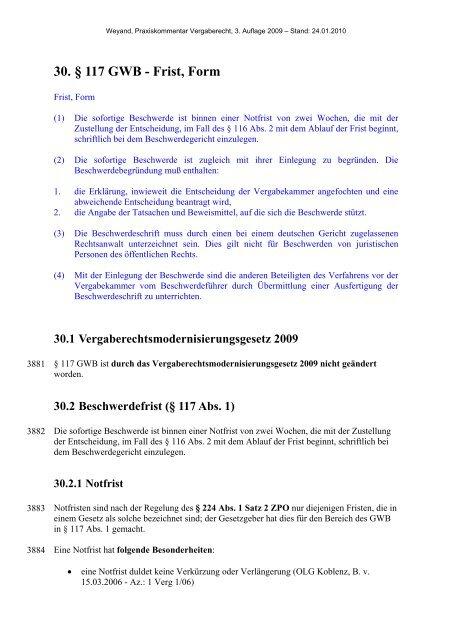 30. § 117 GWB - Frist, Form - Oeffentliche Auftraege