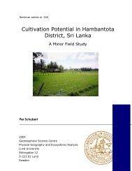 Cultivation Potential in Hambantota District, Sri Lanka
