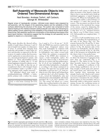 Self-Assembly of Mesoscale Objects in ordered 2D Arrays - The ...
