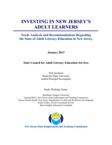 2013 - Investing in New Jersey's Adult Learners - SETC