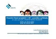 Finanční řízení projektů 7. RP - pravidla a příklady