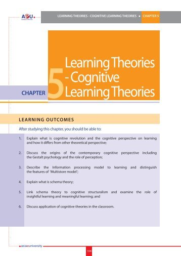Learning Theories - Cognitive Learning Theories CHAPTER