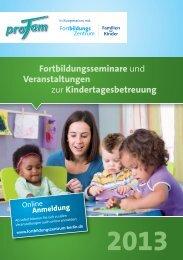 Jahresprogramm Fortbildungen zur Kindertagesbetreuung 2013