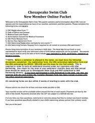 Chesapeake Swim Club New Member Online Packet