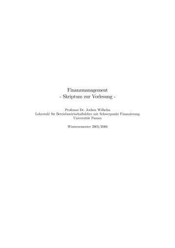 Finanzmanagement Skriptum zur Vorlesung