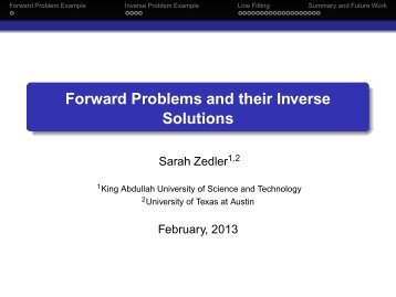Forward Problems and their Inverse Solutions