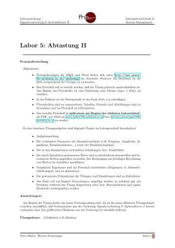 Labor 5: Abtastung II