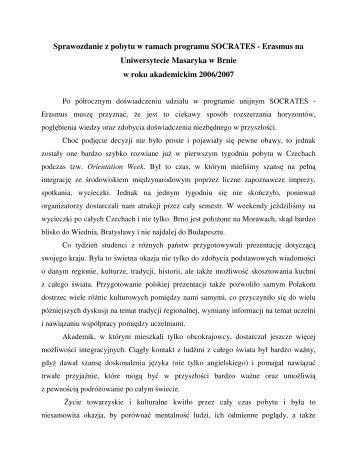 Sprawozdanie z pobytu w ramach programu SOCRATES - Erasmus ...