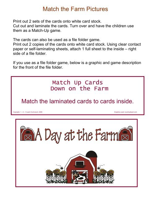 Match the Farm Pictures Match Up Cards Down on the Farm