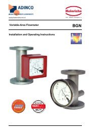 Variable-Area Flowmeter Installation and Operating ... - Adinco bv