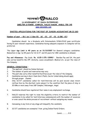 A GOVERNMENT OF INDIA ENTERPRISE - National Aluminium ...