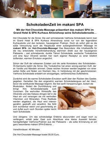 SchokoladenZeit im makani SPA - Kurhaus Ahrenshoop