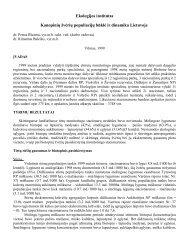 1999 metų tyrimų rezultatų analizės santrauka - Aplinkos apsaugos ...