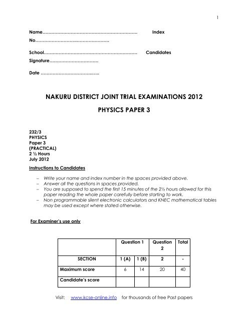 Physics kcse past papers