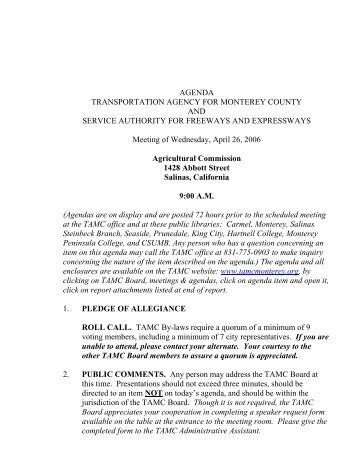 AGENDA TRANSPORTATION AGENCY FOR MONTEREY COUNTY ...