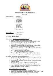 Protokoll der Schulkonferenz - Schule am Hohen Feld