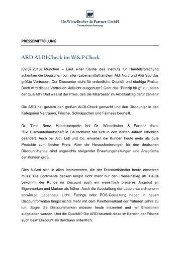 ARD ALDI-Check im W&P-Check - Dr. Wieselhuber & Partner GmbH ...