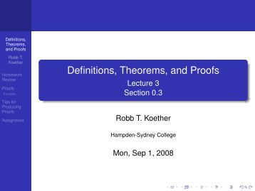Definitions, Theorems, and Proofs - Hampden-Sydney College