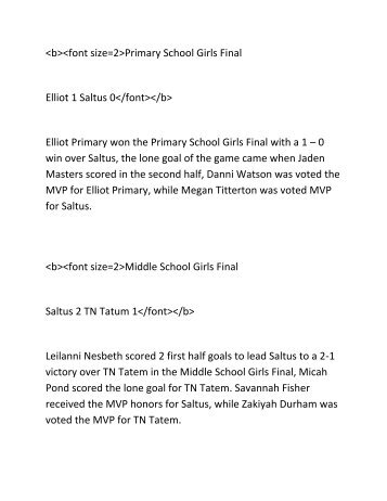 Primary School Girls Final Elliot 1 ... - IslandStats.com