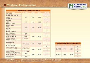 Tablero Aglomerado Melaminado - Maderas Marbella, SL.