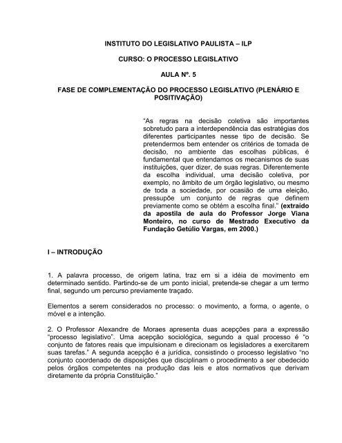 Fase de Complementação do Processo Legislativo - Assembleia ...
