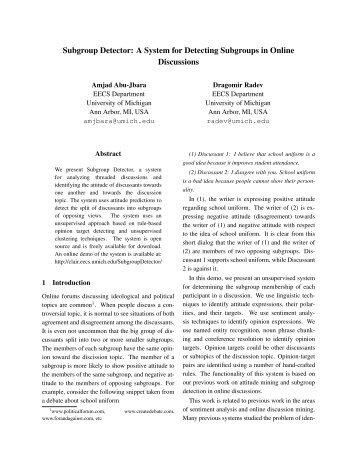 Subgroup Detector - CLAIR - University of Michigan