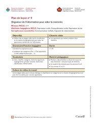 Plan de leçon no 9 : Organiser de l'information pour aider la mémoire