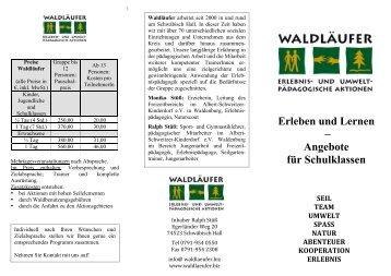 Erleben und Lernen – Angebote für Schulklassen - bei Waldläufer ...