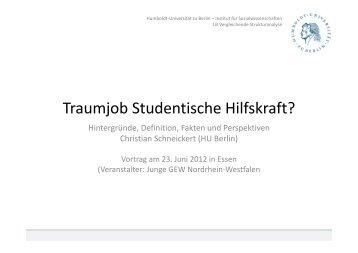 Christian Schneickert - Vortrag - Traumjob Studentische Hilfskraft