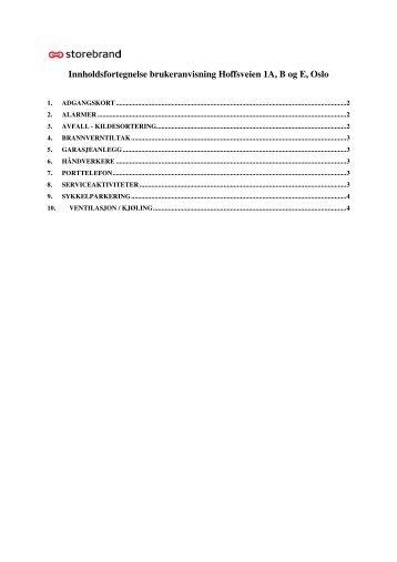 Innholdsfortegnelse brukeranvisning Hoffsveien 1A, B ... - Storebrand
