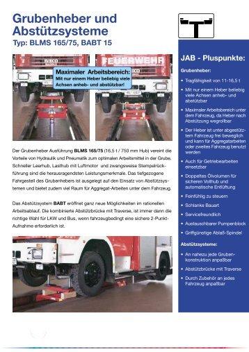 Grubenheber und Abstützsysteme Typ: BLMS 165/75, BABT 15