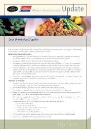 Dear Shareholder/Supplier Alliance Group Limited