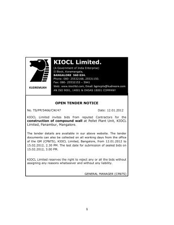 KIOCL Limited. - The Kudremukh Iron Ore Company Limited