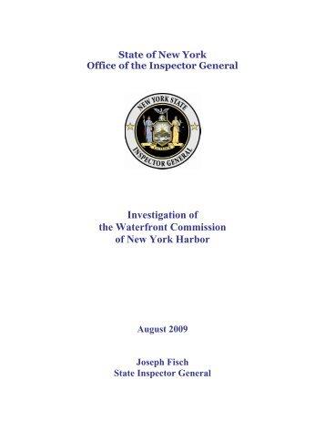 Investigation of the Waterfront Commission of New York Harbor