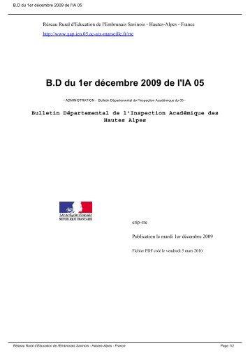 B.D du 1er décembre 2009 de l'IA 05