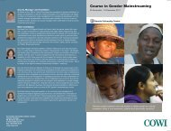 Fellowship course in Gender Mainstreaming 2011 (English pdf) - Cowi