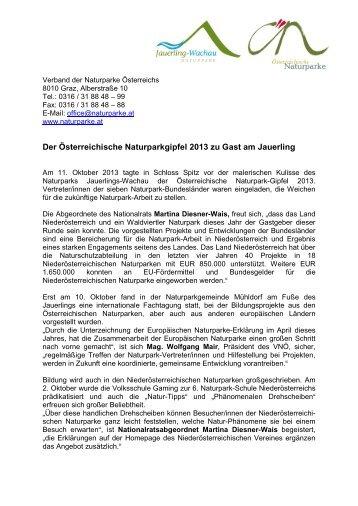 Presseaussendung (PDF) - Naturpark Jauerling | Wachau