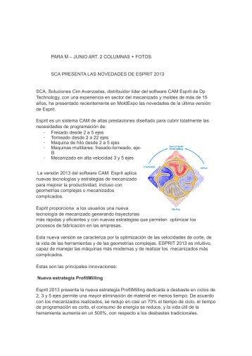 SCA PRESENTA LAS NOVEDADES DE ESPRIT 2013 .pages